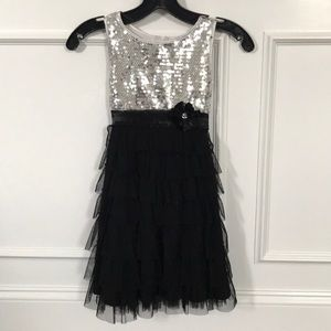 Biscotti silver sequin black ruffle tulle dress 7